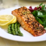 healthy salmon and veggies